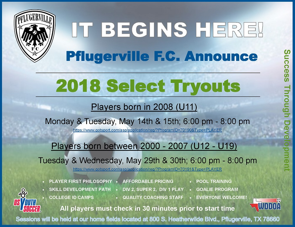 Select league registration and tryout flyer jpg